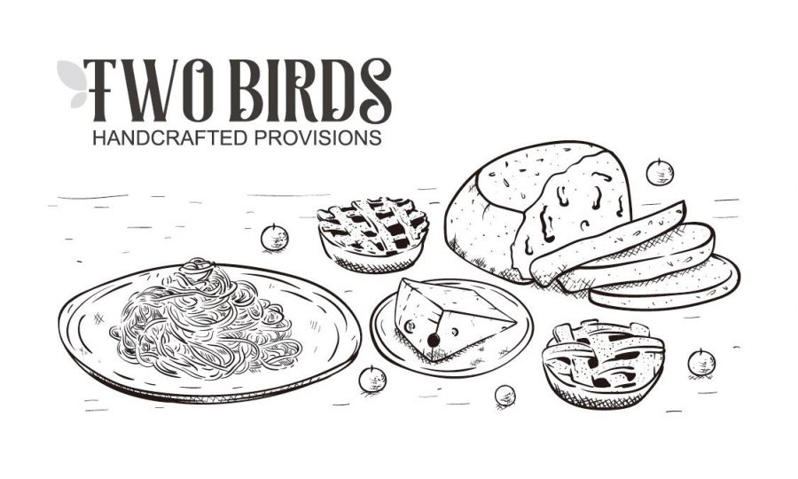 Two Birds logo with food