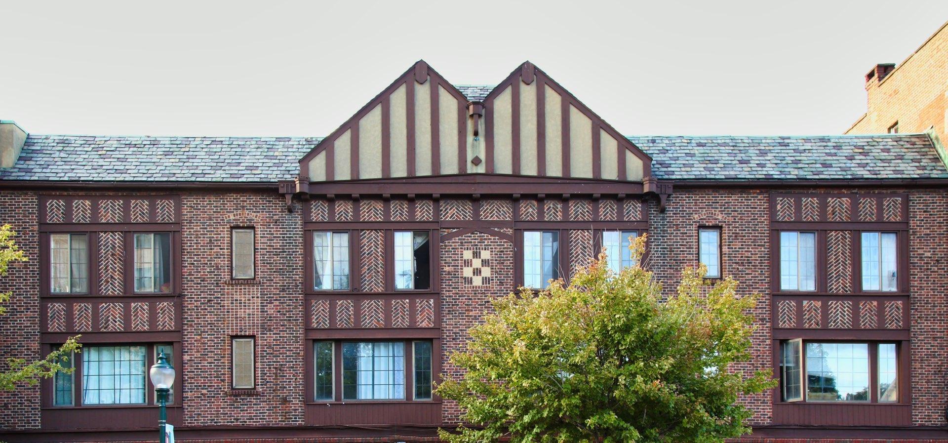 Rooftops Half timbered brickTudor