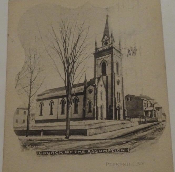 Sketch from a 1907 postcard with image of the church.