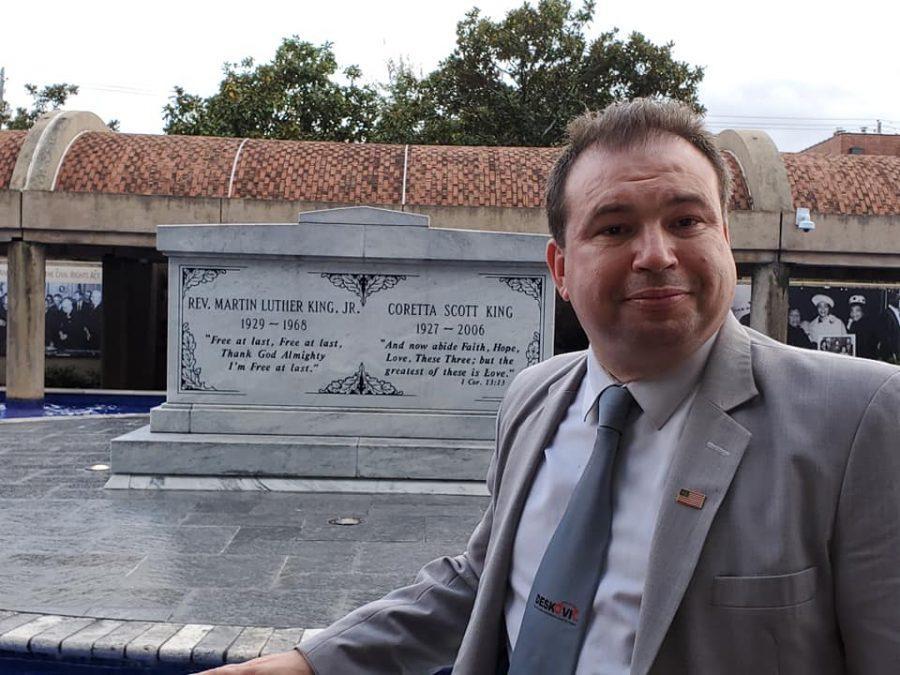 Deskovic visiting the Martin Luther King, Jr. grave in Atlanta in January.
