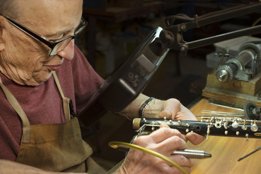 Paul Laubin, oboe & English horn maker/manufacture at his shop bench in Peekskill,New York